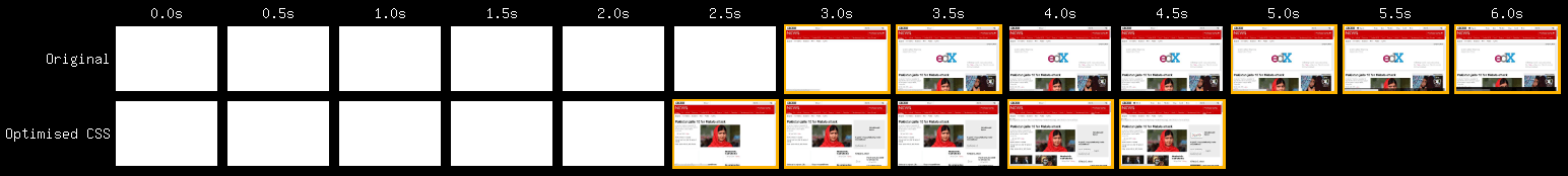 Visual comparison of the baseline snapshot against an optimised variation