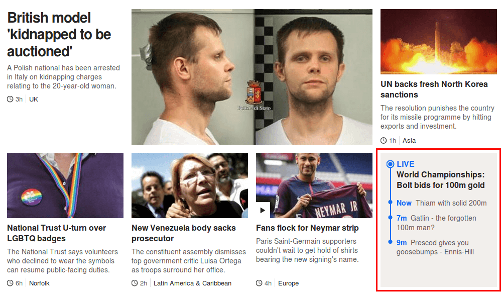 BBC News top stories component, containing a live-updating promo
