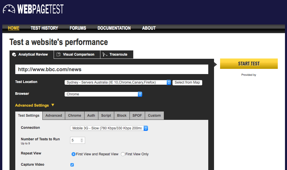 The WebPagetest interface